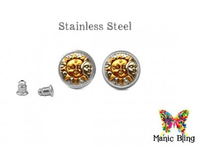 Sun Moon Stud Earrings