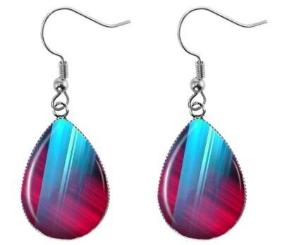 Aqua Red Teardrop Earrings