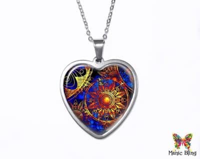 Blue Gold Heart Pendant Heart Pendants