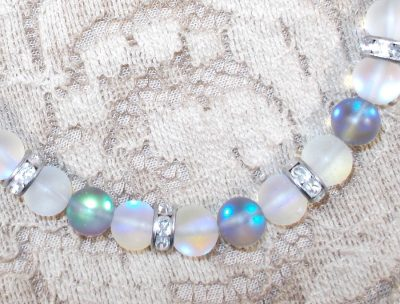 Glass Moonstone and Crystal Bracelet