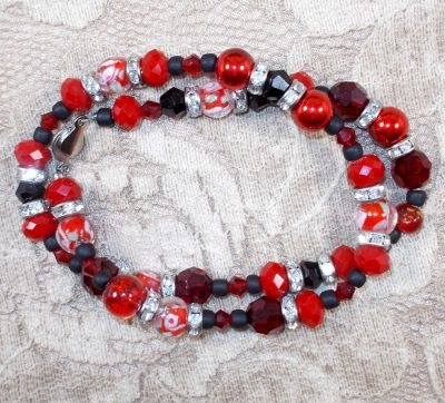 Red and Black Double Wrap Bracelet