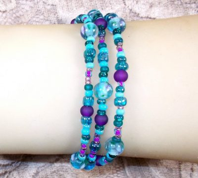 Aqua and Purple Triple Wrap Bead Bracelet