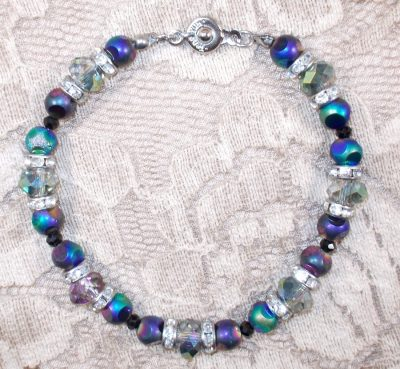Crystal and Glass Bead Bracelet