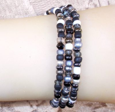 Black and Gray Triple Wrap Bracelet