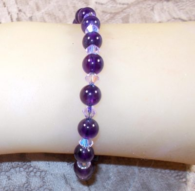 Amethyst and Swarovski Crystal Bracelet