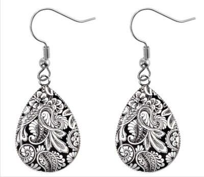 Black White Paisley Earrings
