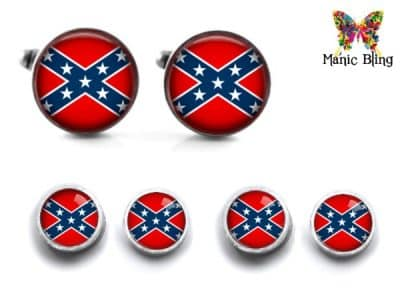 Confederate Flag Cufflinks and Studs