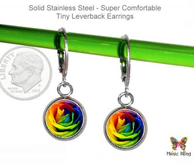 Rainbow Rose Small Leverback Earrings