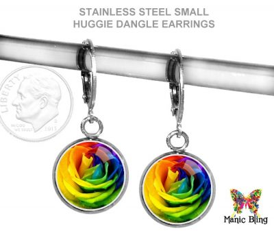 Rainbow Rose Leverback Earrings