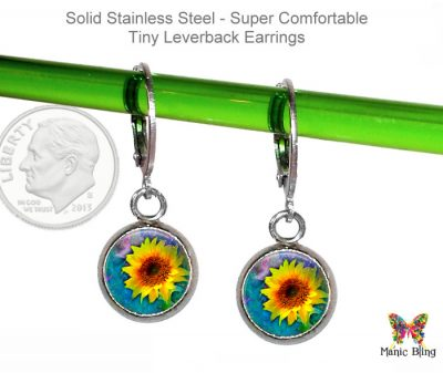 Sunflower Small Leverback Earrings