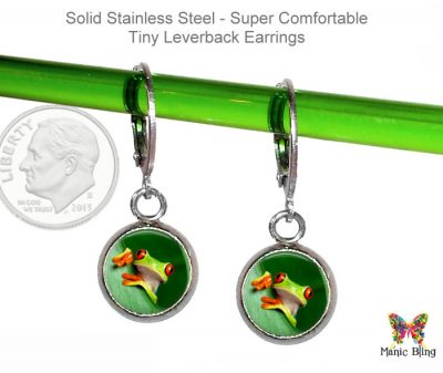 Tree Frog Small Leverback Earrings