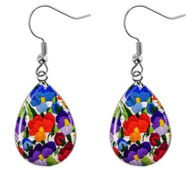 Embroidered Flowers Earrings