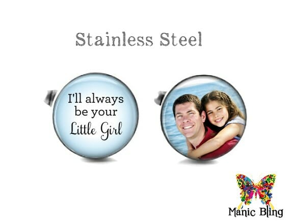 Father of the Bride Photo Cufflinks Blue