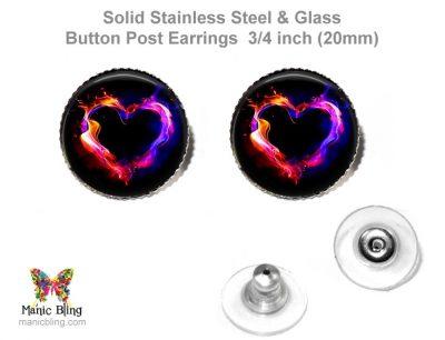 Flaming Heart Button Earrings