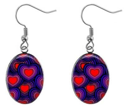 Colorful Hearts Oval Earrings