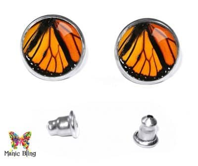 Monarch Wing Stud Earrings