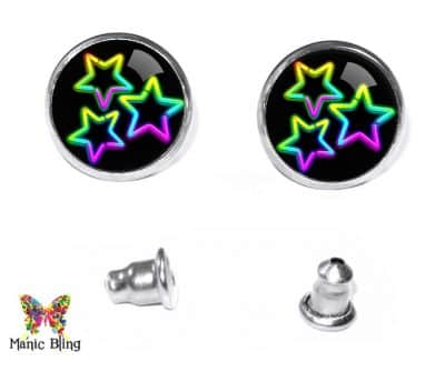 Neon Stars Stud Earrings