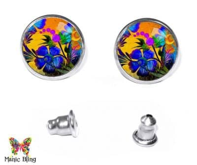 Painted Flowers Stud Earrings