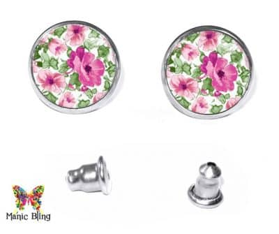 Pink Flowers Stud Earrings