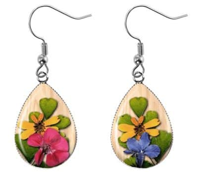 Pressed Flower Teardrop Earrings
