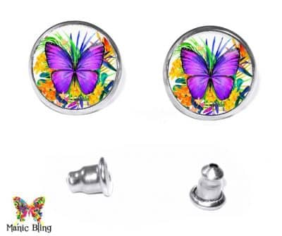 Purple Butterfly Stud Earrings