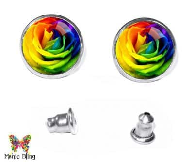 Rainbow Rose Stud Earrings