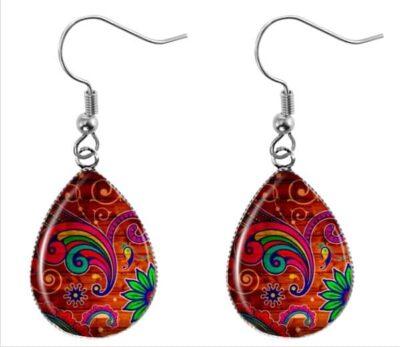 Red Paisley Earrings