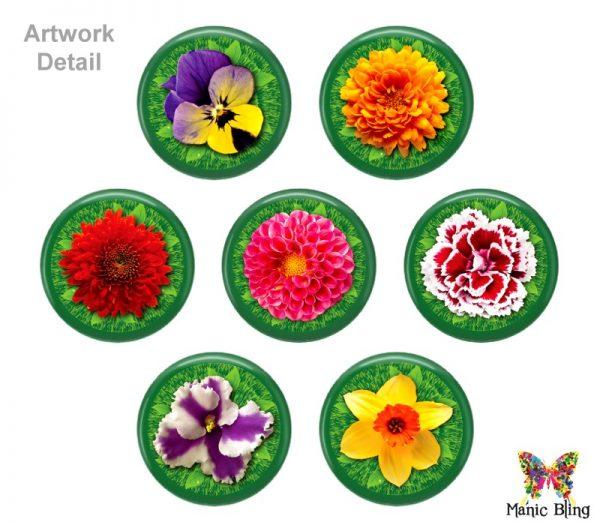 Colorful Spring Flowers Glass Photo Bracelet