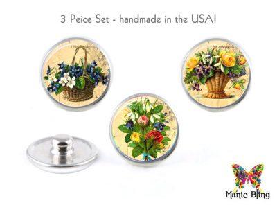 Vintage Flower Jewelry Snaps