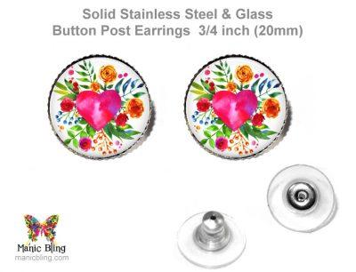 Watercolor Heart Button Earrings